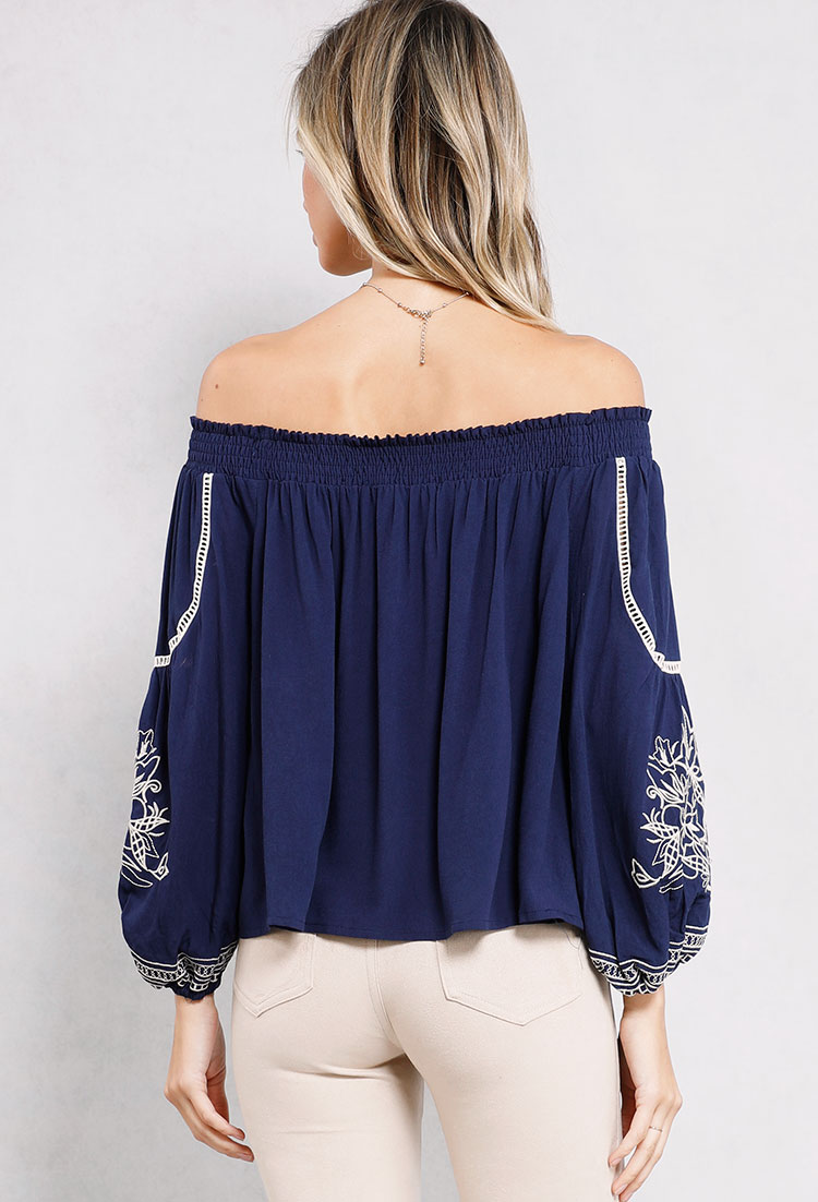 Smocked Off-The-Shoulder Embroidered Top