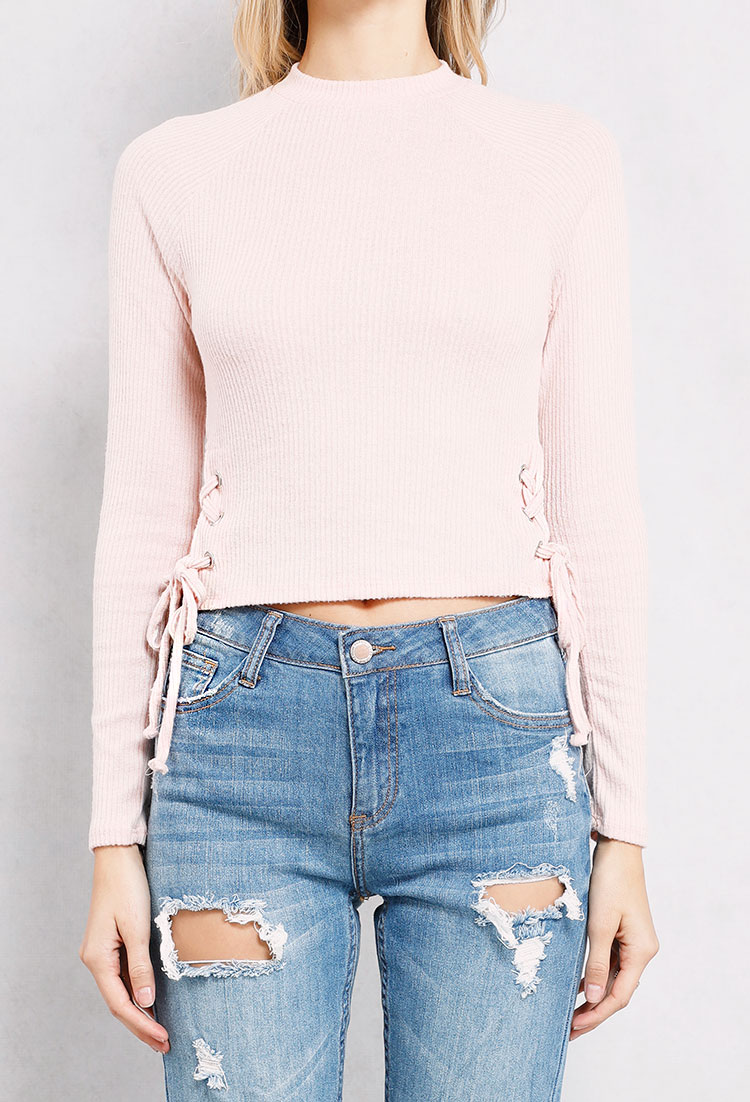 Ribbed Lace-Up Side Knit Crop Top