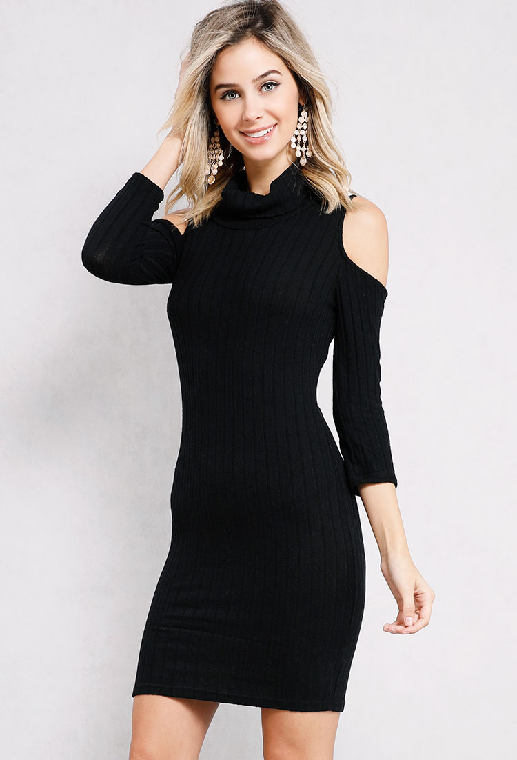 Ribbed Cowl-Neck Sweater Dress | Shop Fall Fashion at Papaya Clothing