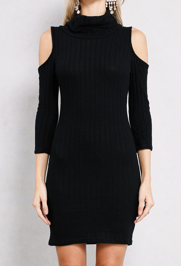 Ribbed Cowl-Neck Sweater Dress