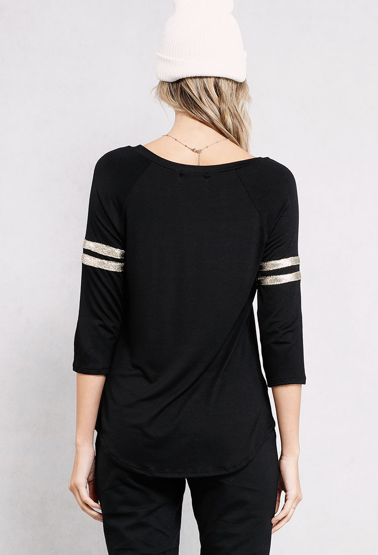 Glitter SLAY Striped Sleeve Graphic Top