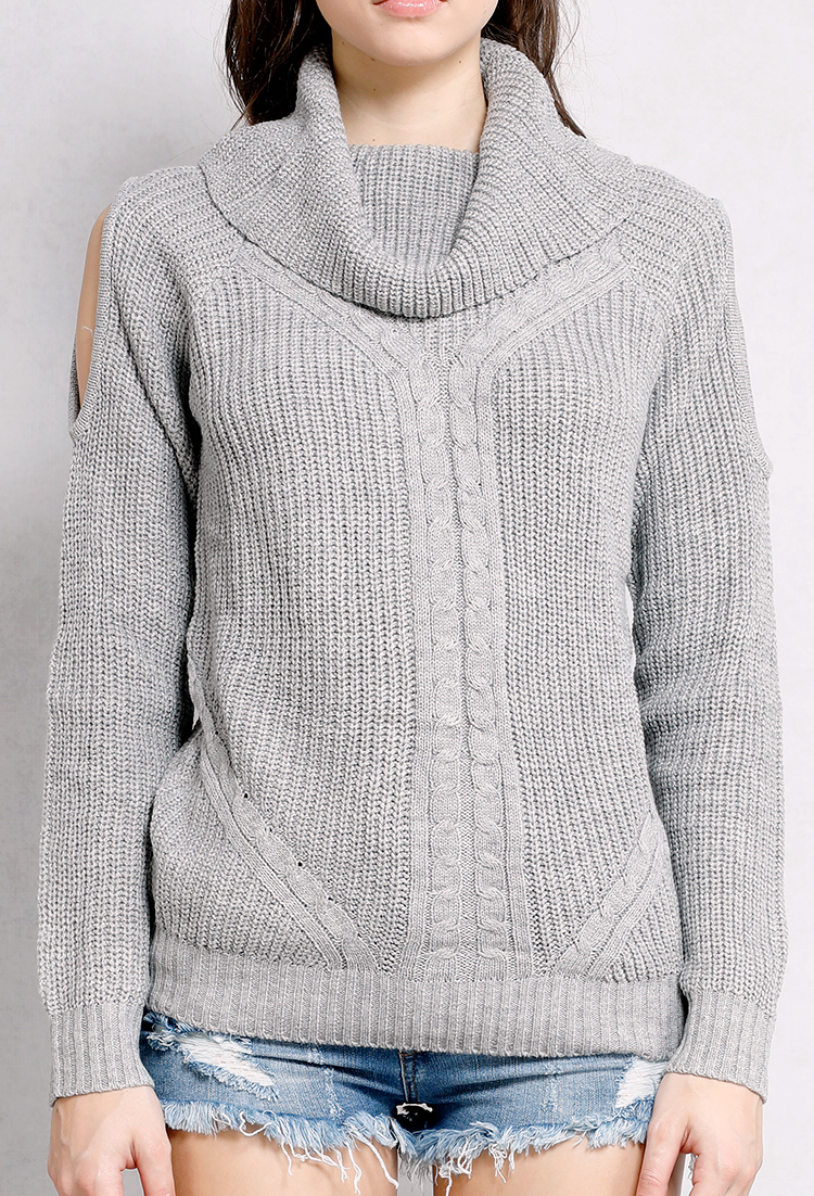 Open-Shoulder Turtle Neck Cable Knit Sweater | Shop Long Sleeve at ...