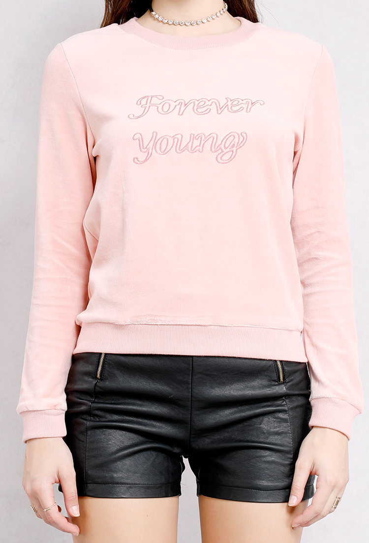 Forever Young Graphic Velvet Sweatshirt