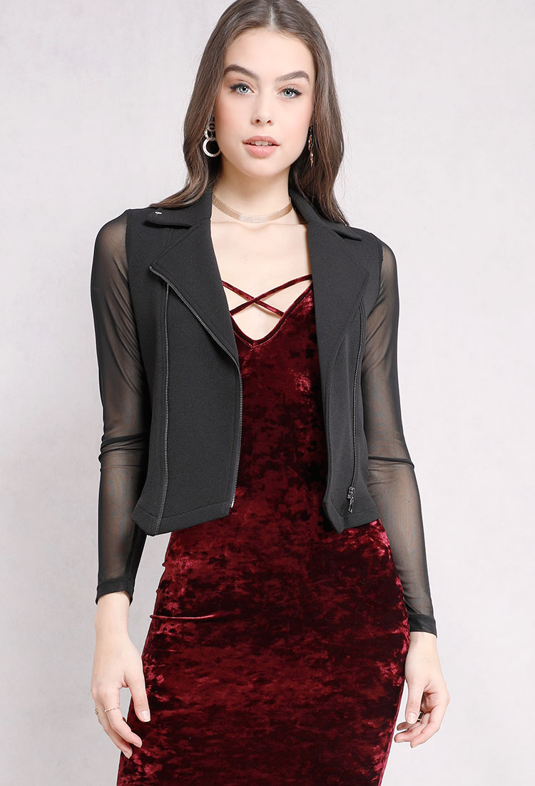 Sheer-Sleeve Moto Zipper Jacket
