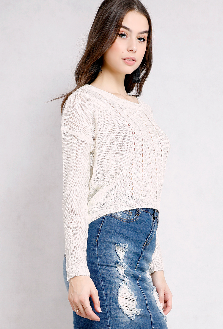 Sequin Open-Knit Sweater