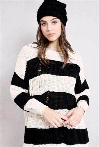 Distressed Striped Sweater