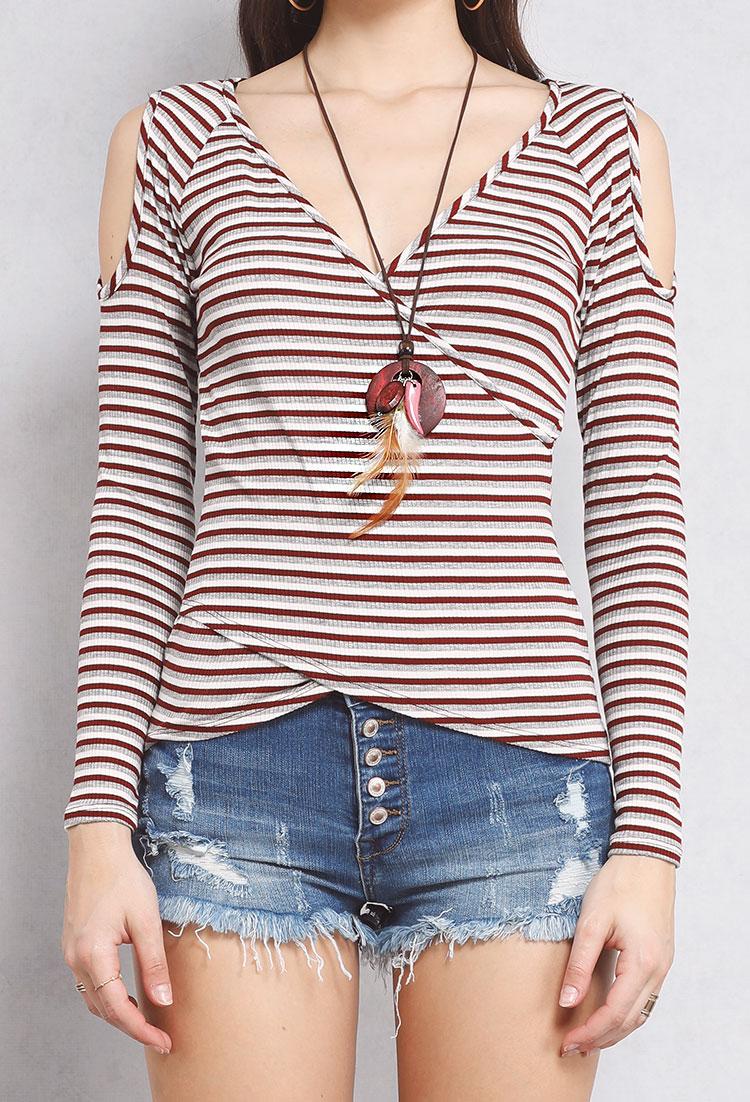 92c3441778c Open-Shoulder Striped Surplice Top W Necklace