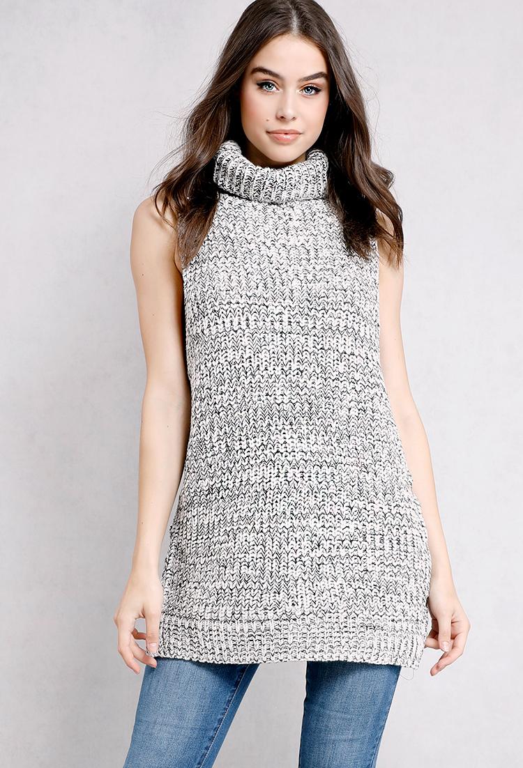 1950b5f16c0e3 Sleeveless Turtle-Neck Tunic Knit Sweater