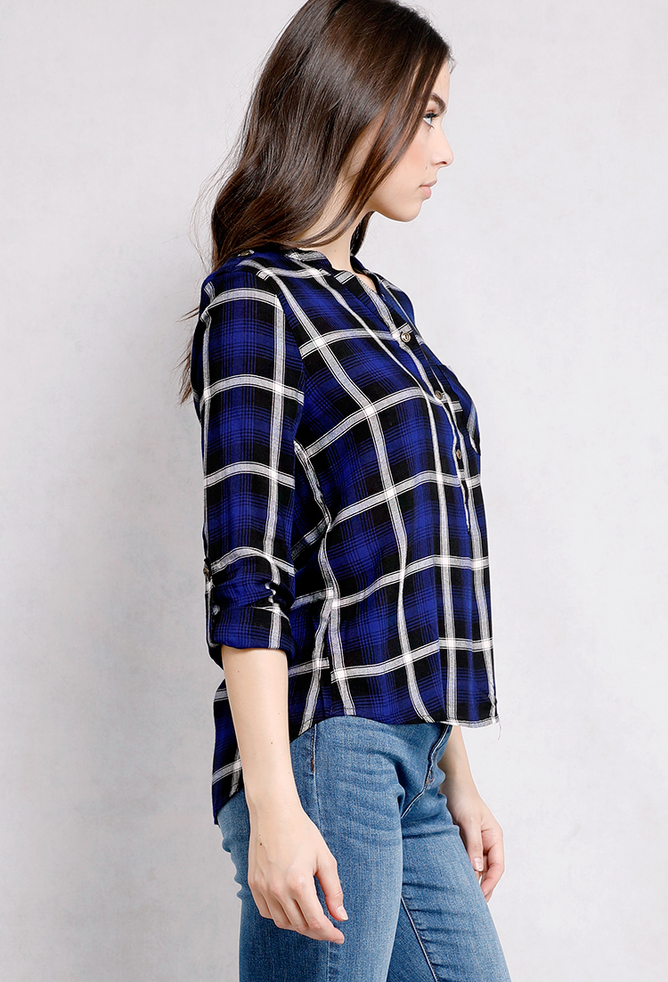 Plaid flannel button up shirt shop long sleeve at papaya for Button up flannel shirts