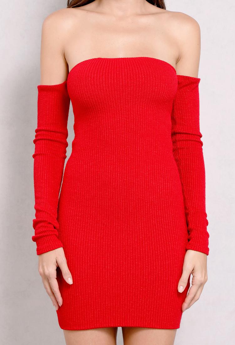 55ec5f920e4 Ribbed Off-The-Shoulder Lace-Up Back Knit Dress
