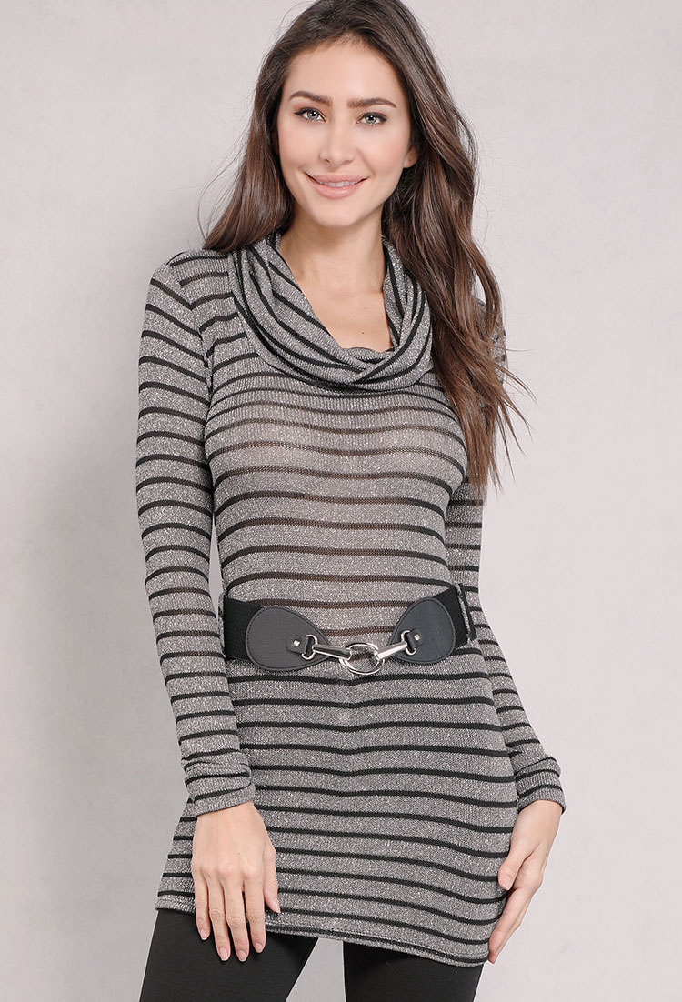 Belted Striped Cowl-Neck Sweater | Shop Long Sleeve at Papaya Clothing