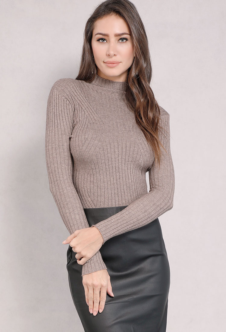 Ribbed Mock Neck Knit Top ...