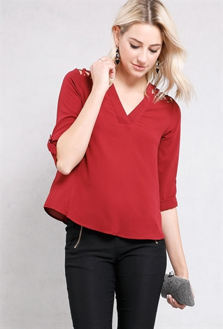 Crisscross Cutout Shoulder Cuffed Top