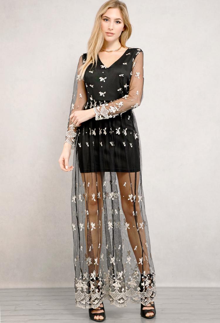 2a3fbdb041a Floral Mesh Maxi Dress