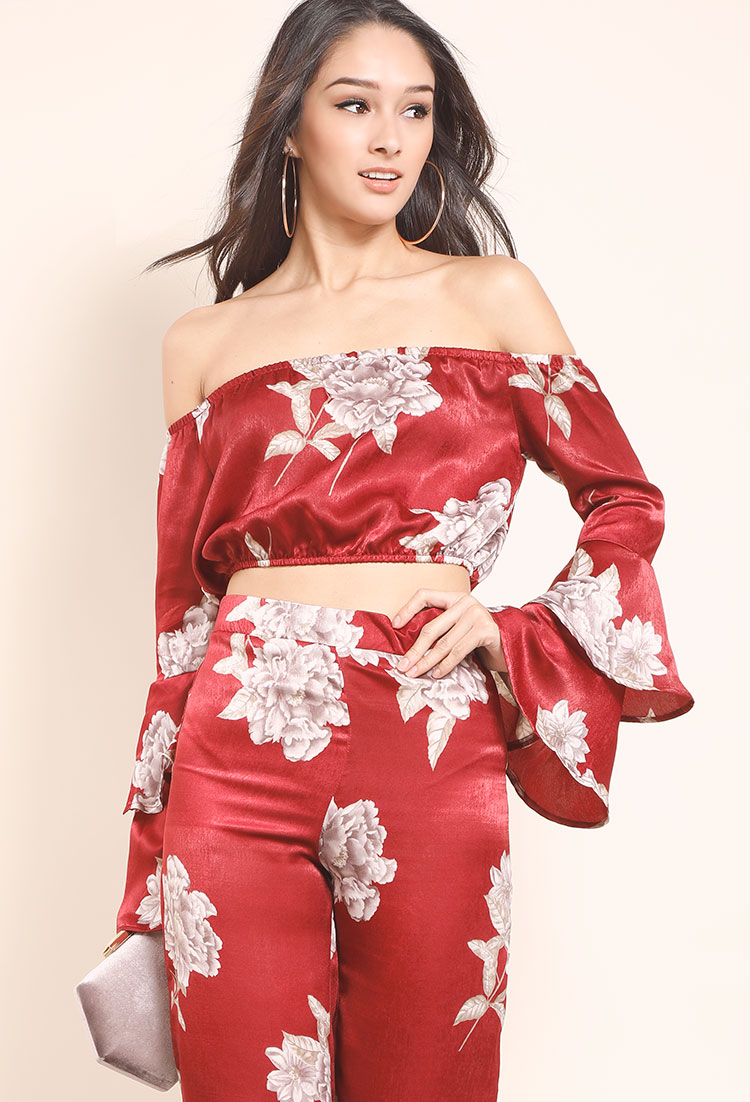 9b3e86edd7b4ba Off-The-Shoulder Floral Tiered Bell Sleeve Crop Top | Shop Off-The ...