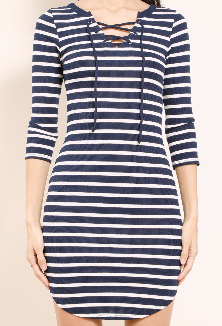 612e4a10e6 Hooded Lace-Up Striped Sweater Dress | Shop Flash Sale : Last Item Extra  40%Off at Papaya Clothing