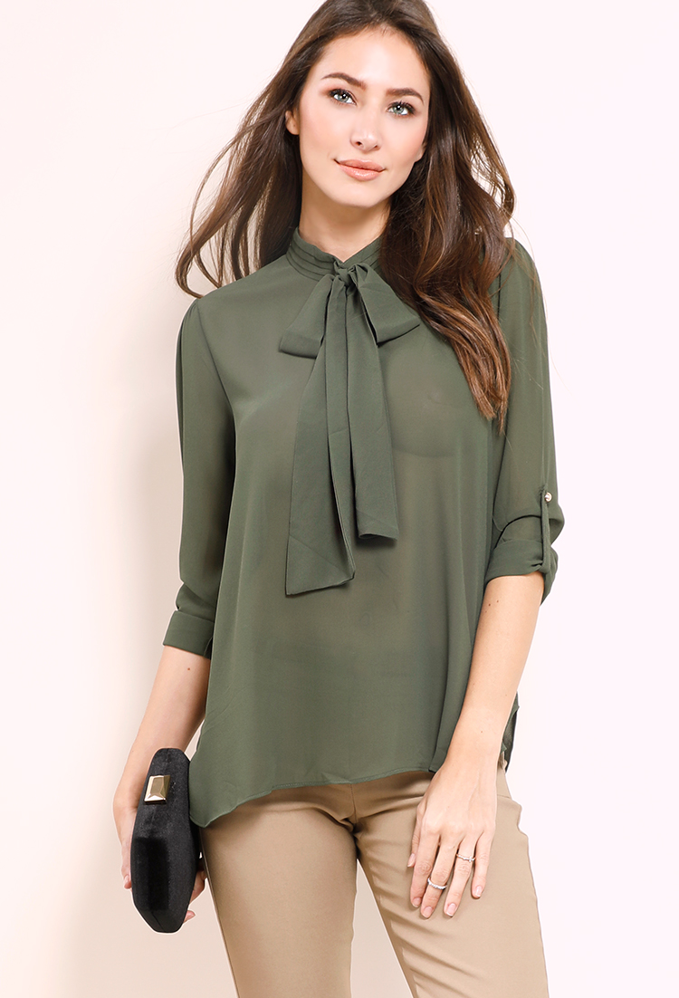 Tie-Neck Keyhole Back Cuffed Blouse
