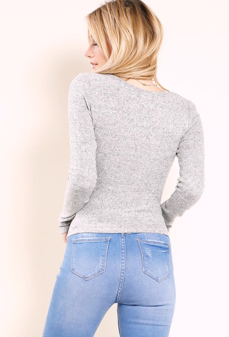 Soft Touch Wrap Knit Top Shop Long Sleeve At Papaya Clothing