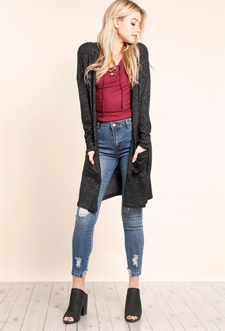 Hooded Open-Front Longline Pocket Cardigan | Shop Sweaters ...