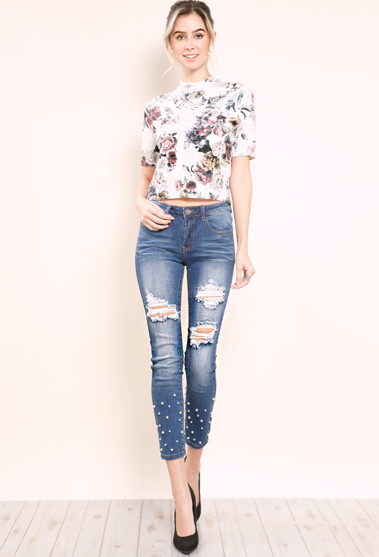 Distressed Pearl Embellished Skinny Jeans