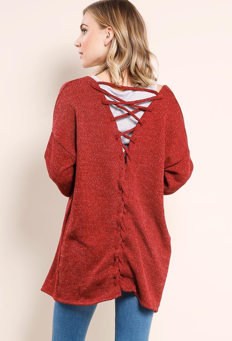 Crisscross Back Knit Open Front Cardigan