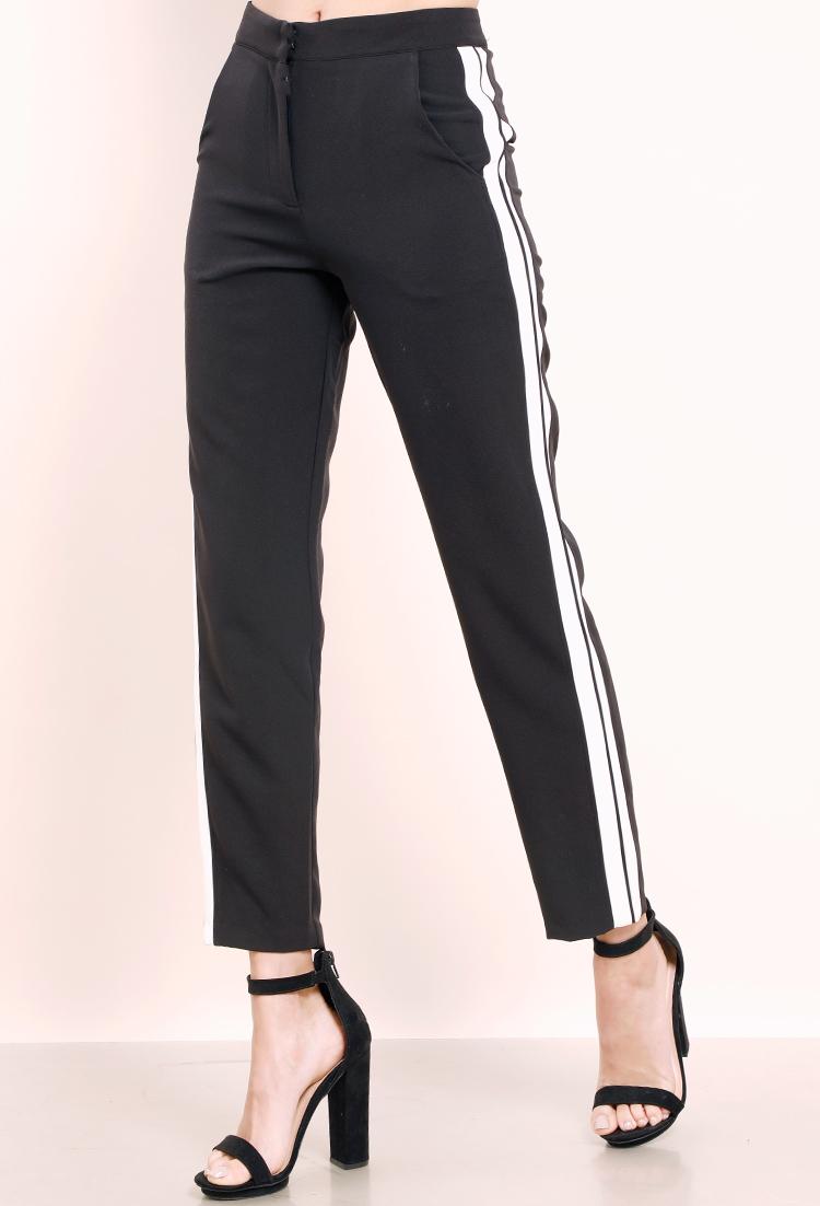331f84fbf6b ... Contrast Stripe Ankle Pants ...