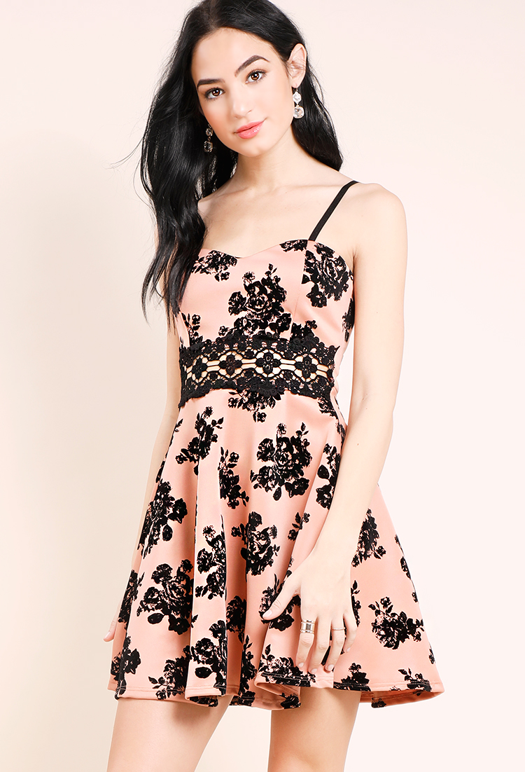 Velvet Floral Fit And Flare Dress
