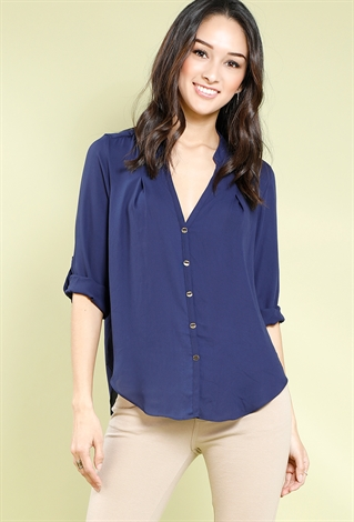 button-up cuffed blouse