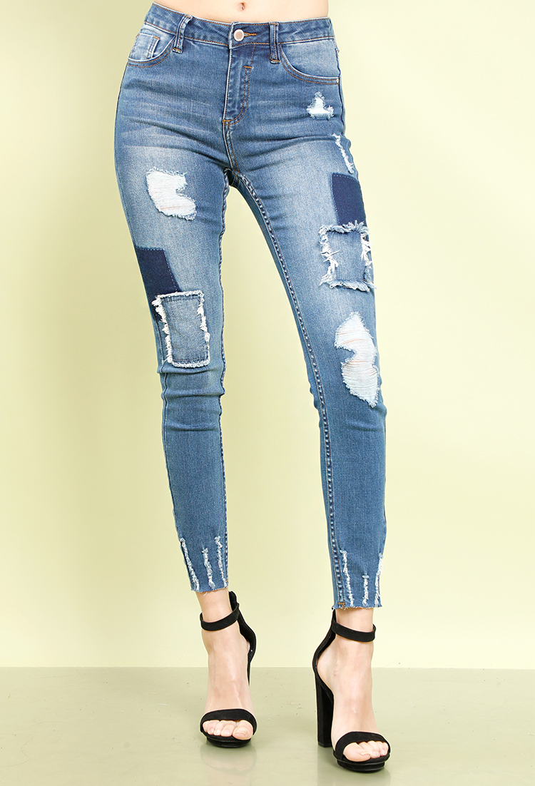Distressed High-Rise Patchwork Skinny Jeans