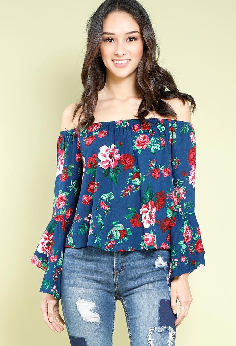 9166de16e5223 Floral Off-The-Shoulder Bell-Sleeve Top ...