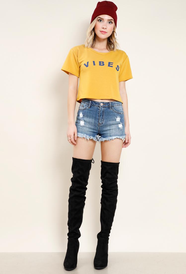b5da62060 Mid-Rise Distressed Frayed Hem Denim Shorts
