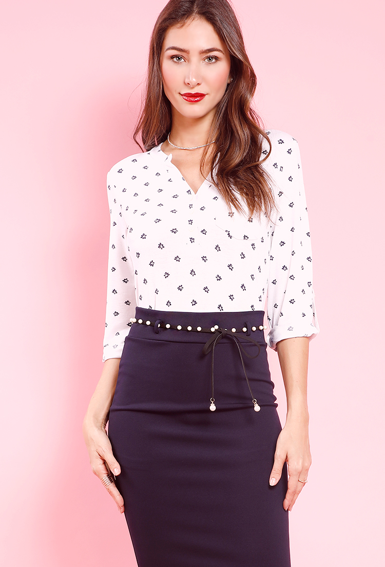 2fba171469c Floral Polka Dot Button-Up Blouse