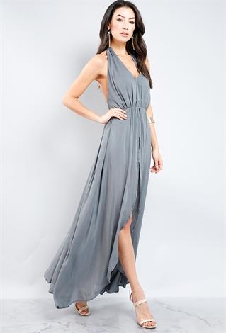 High Low Halter Neck Maxi Dress