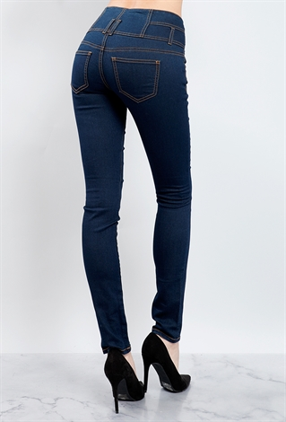 3 Button High-Waist Skinny Jeans