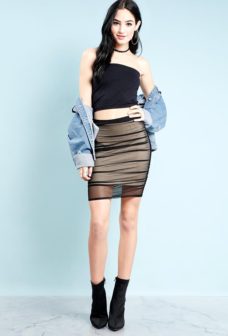 4d8642339a Ruched Mesh Layered Mini Skirt | Shop Mini Skirts at Papaya Clothing
