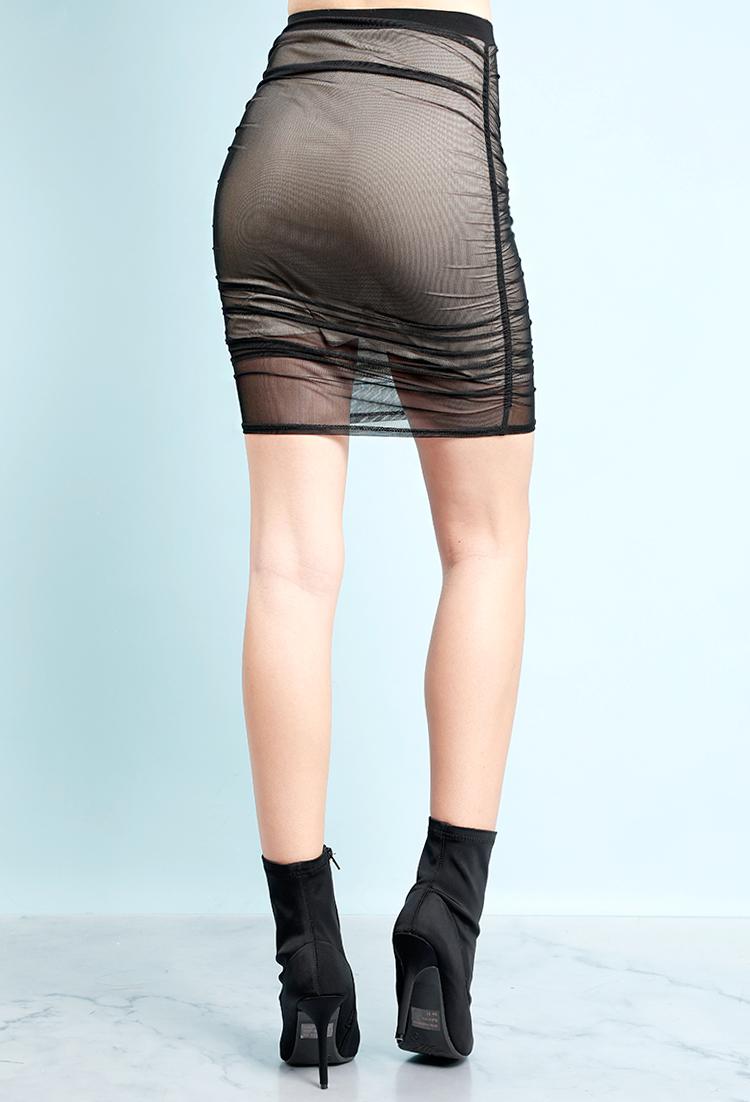 0944773fbb Ruched Mesh Layered Mini Skirt | Shop Bottoms at Papaya Clothing