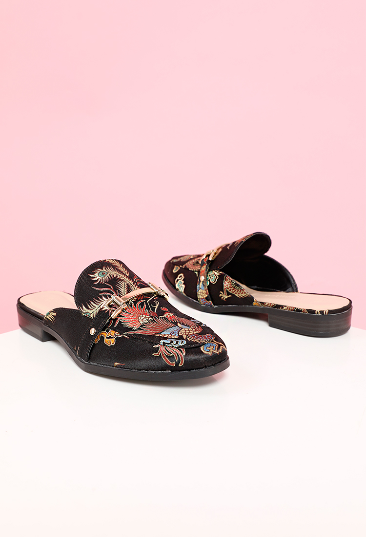 1a06d1813e48e Floral Jacquard Embroidered Loafer Mules | Shop Flats at Papaya Clothing