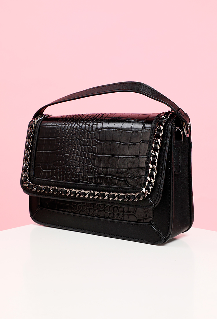 Faux Leather Chain Bag