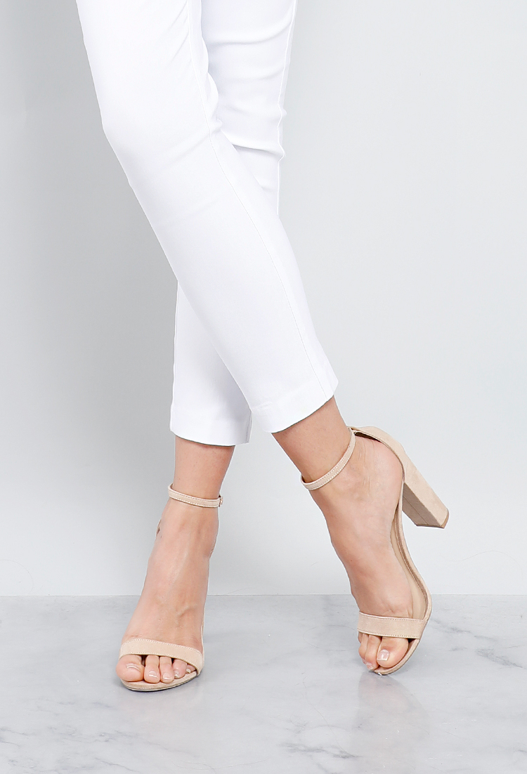 faac4f7e3985c Faux Suede Ankle-Strap Heels