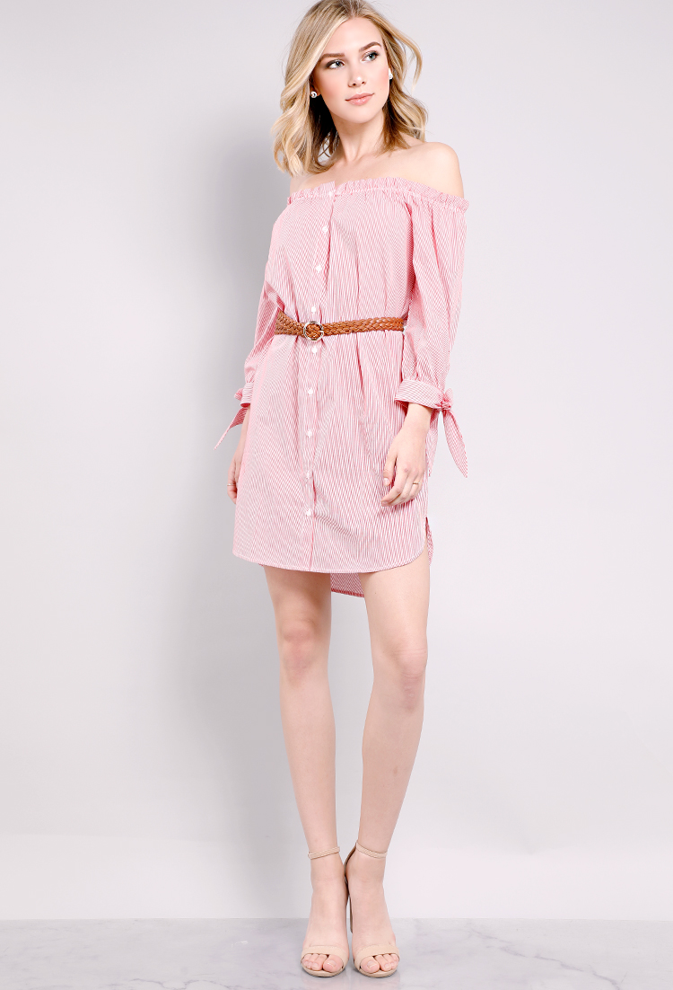 551a921161f Striped Frill-Trim Off-The-Shoulder Shirt Dress | Shop Off-The-Shoulder :  Dresses at Papaya Clothing