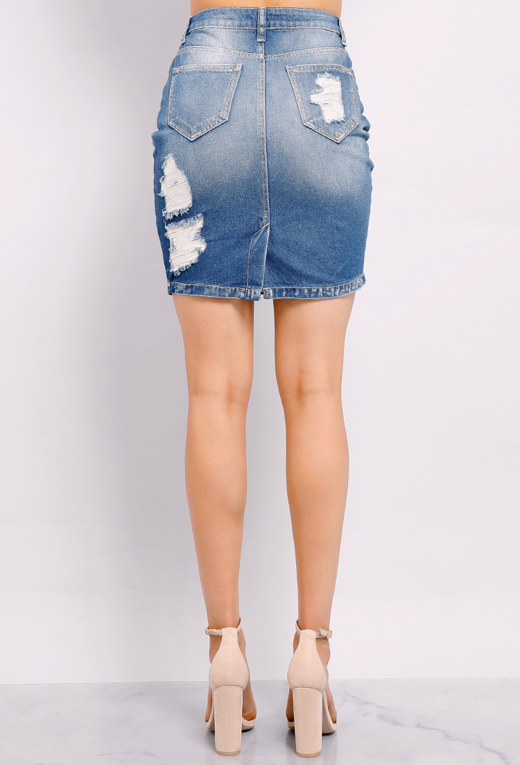 6a2aa0e578 Distressed Denim Skirt   Shop Old Cropped Tops & Bodysuits at Papaya  Clothing