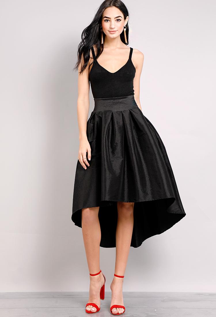 d1cfccba1f37 High Low Satin Midi Skirt