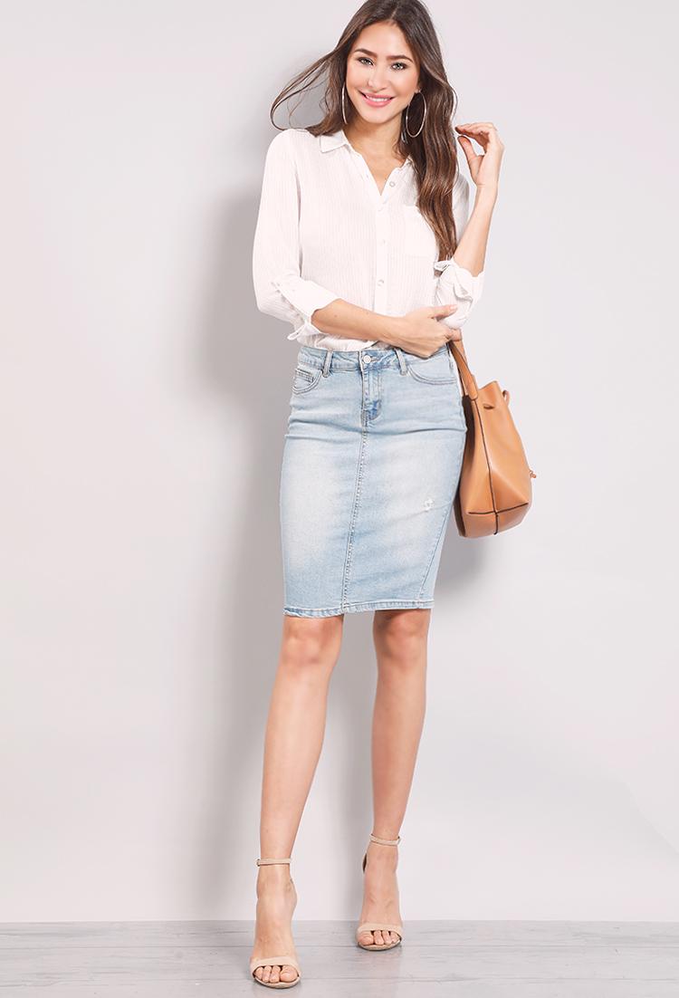 attractive colour top-rated genuine best price Denim Midi Skirt | Shop Midi Skirts at Papaya Clothing
