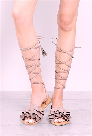 Ruffle Lace-Up Sandals