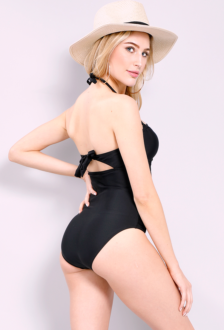 Cut-Out Front Halter Back-Tie One-Piece Swimsuit