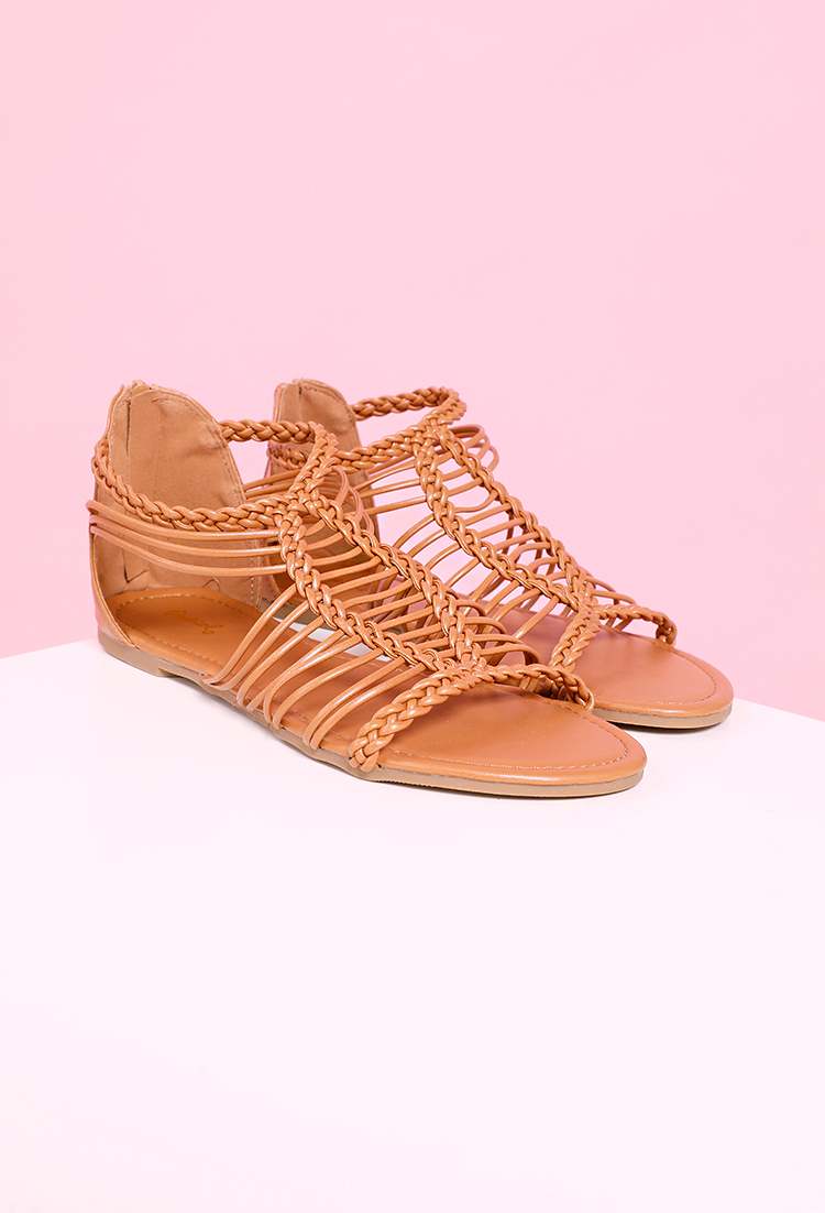 Faux Leather Braided Sandals
