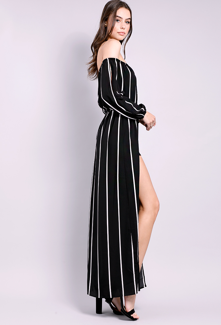 bb0c4d9ea5 ... M-Slit Off-The-Shoulder Striped Maxi Dress ...