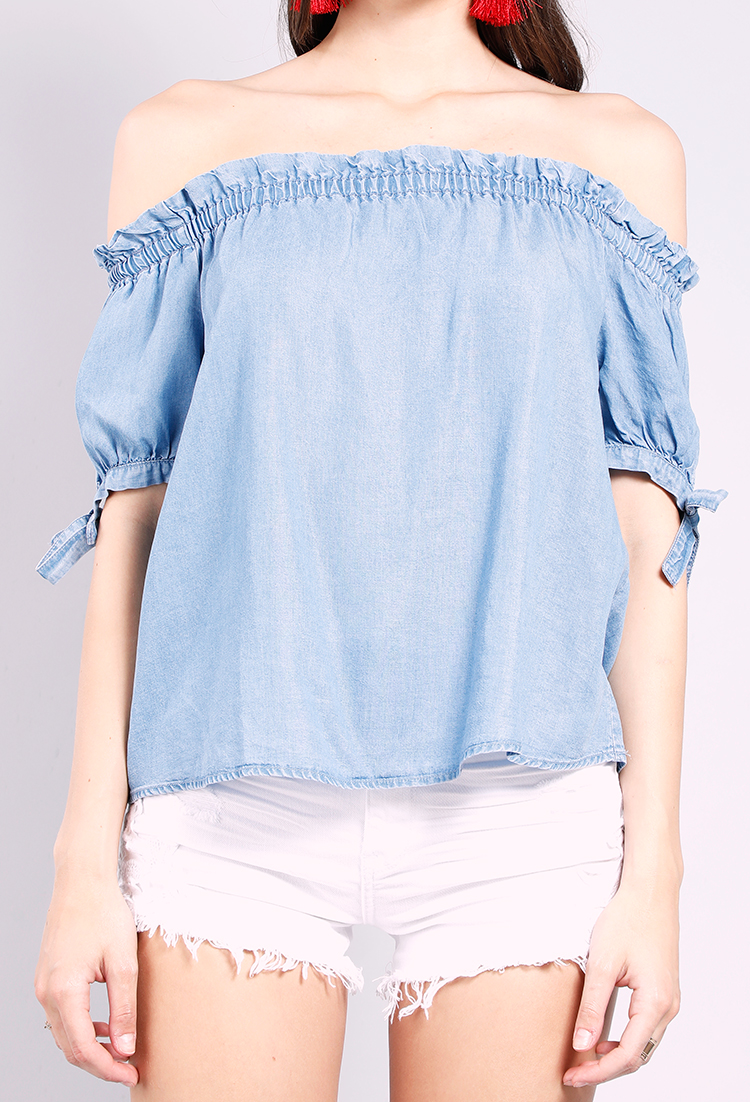 e8202aa5329815 Chambray Off-The-Shoulder Tie Sleeve Top | Shop Off-The-Shoulder at Papaya  Clothing