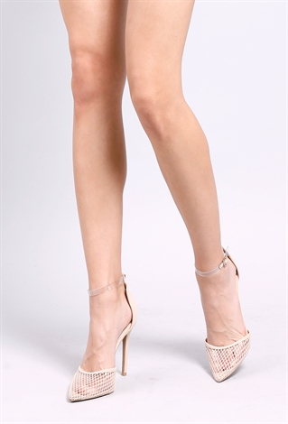 Pointed Mesh Ankle-Strap Heels