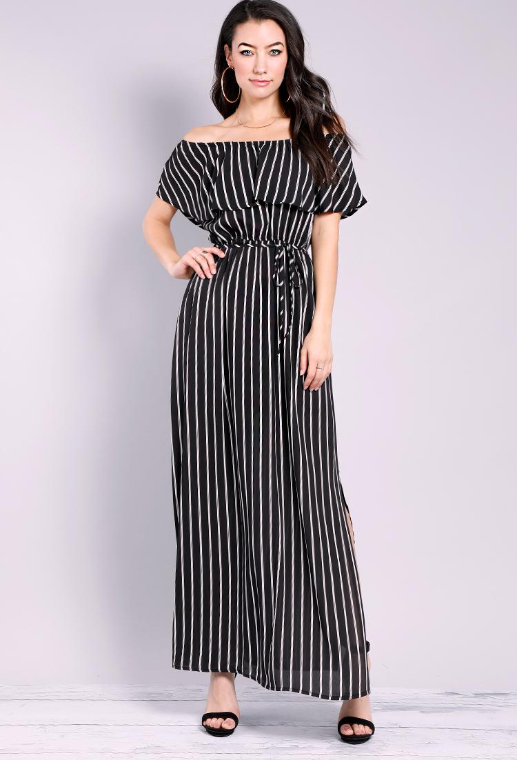 fa13ad89a195 Striped Off-The-Shoulder Maxi Dress